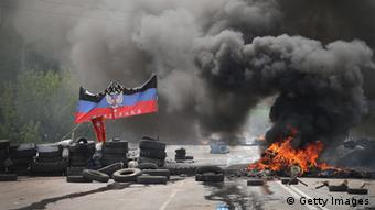 A road blockade in Kramatorsk, Ukraine (photo: Scott Olson/Getty Images)