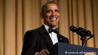 President Barack Obama during his speech at the White House Correspondents' Association Dinner in 2014.