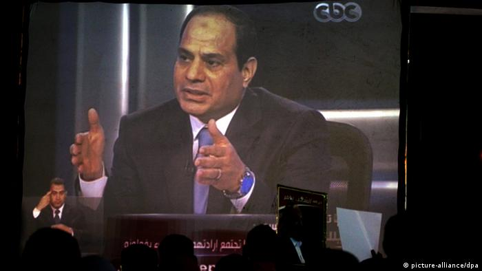 Abdel Fattah al-Sissi Bildschirm Leinwand Kairo Ägypten (picture-alliance/dpa)