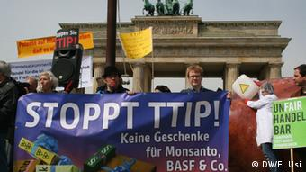 Protests against the EU-US free trade agreement TTIP in Berlin