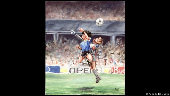 Maradona im Duell mit dem englischen Keeper 1986.