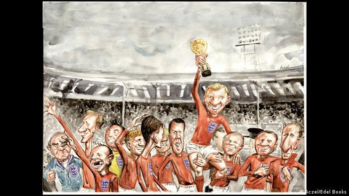 Bobby Moore (mit Pokal im Bild) und seine Mitspieler jubeln nach dem Wembley-Tor 1966.
