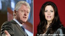 ** FILE ** Former President Bill Clinton, left, on March 9, 2004 in New York. Monica Lewinsky, shown in this undated promotional photo provided by Fox. In a nationally broadcast interview aired Wednesday, June 23, 2004, Clinton said he feel sorry for Lewinsky and appologized to her. (AP Photo/Mary Altaffer/FOX, S.Jones) NO SALES