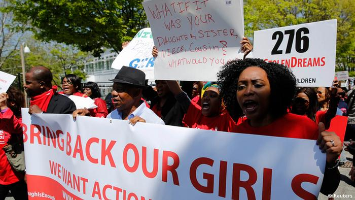 Protesters march in support of the girls kidnapped by members of Boko Haram in front of the Nigerian Embassy in Washington May 6, 2014.