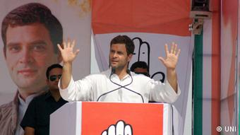 Indien Wahlen 2014 - Congress Vice President Rahul Gandhi addressing an election Rally. Source: UNI