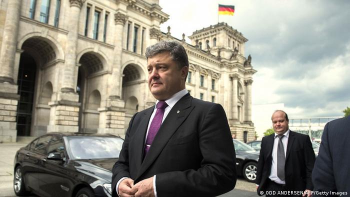 Der ukrainische Präsidentschaftskandidat Petro Poroschenko vor dem Reichstag in Berlin, Foto: Getty Images