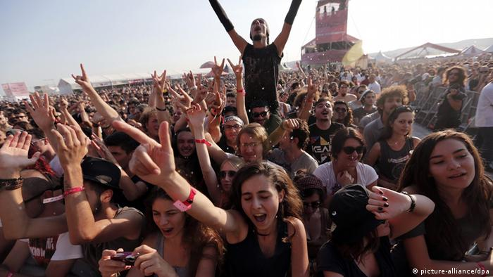 Young festival goers screaming