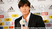 FRANKFURT AM MAIN, GERMANY - MAY 08: Head coach Joachim Loew of Germany announces his quad for the FIFA World Cup 2014 during a Squad Announcement press conference at the DFB headquarters on May 8, 2014 in Frankfurt am Main, Germany. (Photo by Dennis Grombkowski/Bongarts/Getty Images)