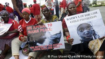 Nigeria Demos Mädchen Entführung 05.05.2014 Lagos (Pius Utomi Ekpei/AFP/Getty Images)