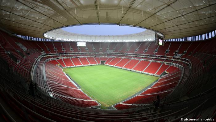 The 'Stadion Nacional Mane Garrincha' was photographed during a tour through the stadium in Brasilia, Brazil, 09 December 2013. The 'Stadion Nacional Mane Garrincha' is one of the stadiums of the FIFA World Cup 2014 in Brazil. Photo: Marcus Brandt/dpa