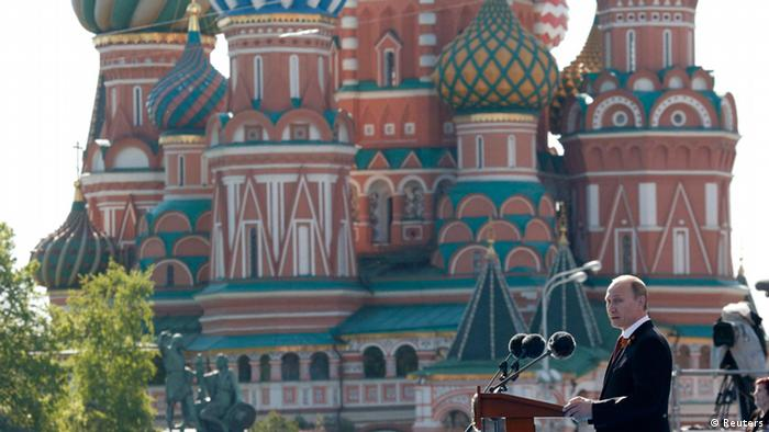 Russian President Vladimir Putin gives a speech at Moscow's Red Square