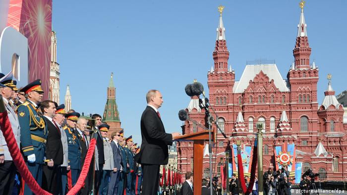 Vladimir Putin speaks during the 2014 victory parade
