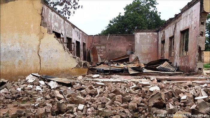 A demolished school building as a result of an attack by Boko Haram in Nigeria in Gamboru.