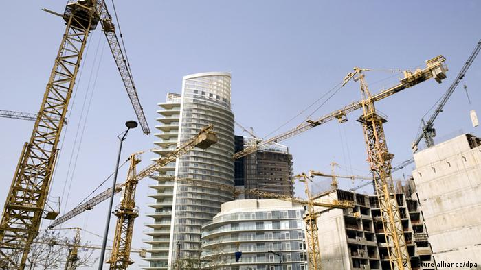 Construction site and crans in Beirut