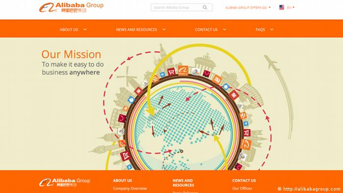 Alibaba Group Internet page