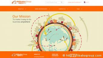 Screenshot von der Internetseite von Alibaba Group