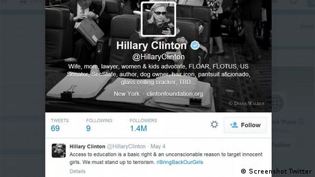 Hillary Clinton #bringbackourgirls screenshot Twitter