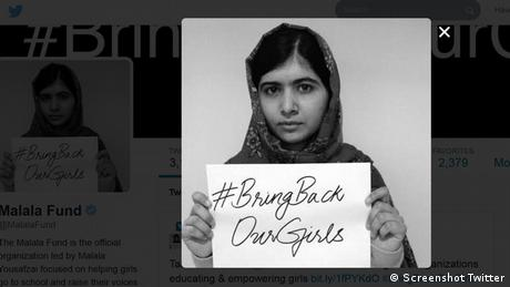 Malala #bringbackourgirls screenshot Twitter