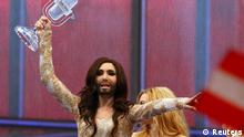 Conchita Wurst representing Austria celebrates after winning the grand final of the 59th Eurovision Song Contest at the B&W Hallerne in Copenhagen May 10, 2014. REUTERS/Tobias Schwarz (DENMARK - Tags: ENTERTAINMENT)