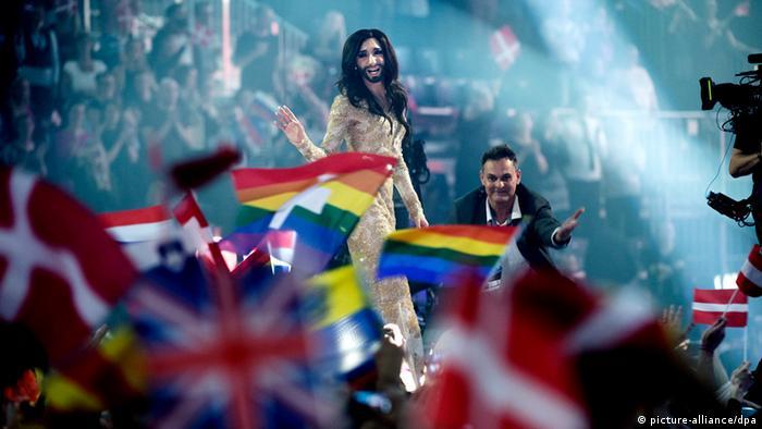 Conchita Wurst winning he Eurovision Song Contest 2014