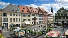 A praça central do centro histórico em Weimar