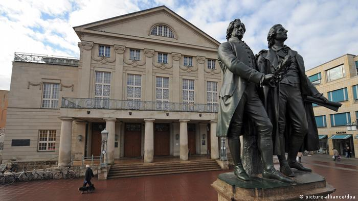 Statues of Goethe and Schiller in front of the former Court Theater in Weimar