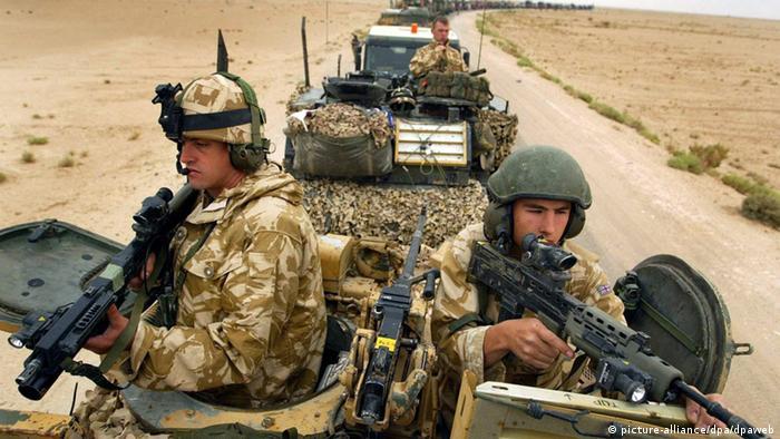britischer Soldaten während des Irak Krieges 2004