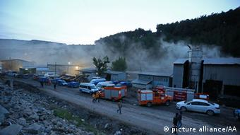 Emergency vehicles parked in front of the Soma mine