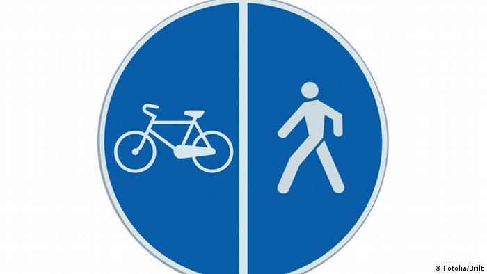 Schild Fahrrad Fußgänger Weg
