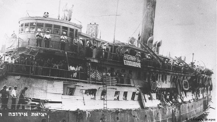 Schiff Exodus im Hafen von Haifa 22.03.1947 (AFP/Getty Images)