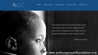 Screenshot Anthony Graves Foundation