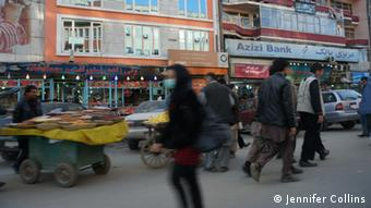 Fruit vendors on Kabul's traffic-clogged streets