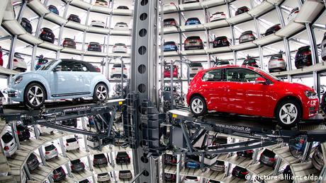 Volkswagen's car tower at the Autostadt in Wolfsburg