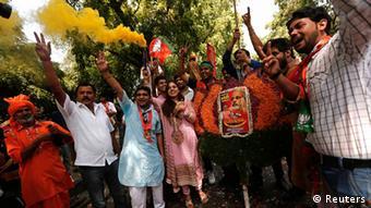 Indien Wahlen Jubel 16.05.2014