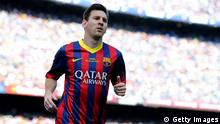 BARCELONA, SPAIN - MAY 03: Lionel Messi of FC Barcelona looks on during the La Liga match between FC Barcelona and Getafe CF at Nou Camp on May 3, 2014 in Barcelona, Spain. (Photo by David Ramos/Getty Images)