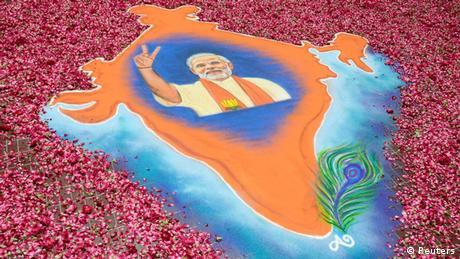 Indien Wahlen 2014 BJP Narendra Modi Rangoli
