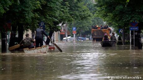 A flooded street is seen in the town of Obrenovac Photo: EPA/ANDREJ CUKIC