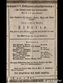 Theaterzettel der Uraufführung am 23. Mai 1814 in Wien (Foto: gemeinfrei)