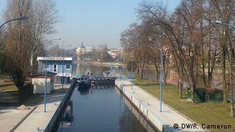A picture of boats in a lock on the River Elbe at Nymburk.