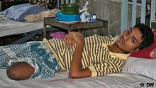 College student Limon Hossain who was shot and maimed by the Rapid Action Battalion (RAB) in 2011. *** DW, Dhaka