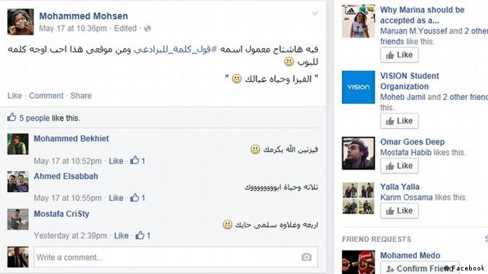 Screenshot Facebook Ägypten Debatte um El Baradei social media