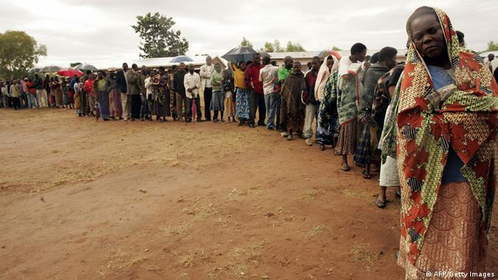 Voters queuing in Malawi