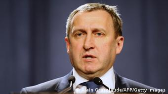 Acting Foreign Minister Andriy Deshchytsi speaks during a press conference Photo: ALAIN GROSCLAUDE/AFP/Getty Images