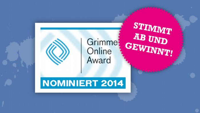 das Nominiert-Logo des Grimme Online Award