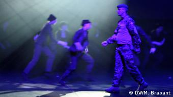 Jesper suffers from PTSD, in the ballet he tells the audience about the hidden wounds of war.