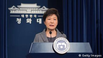 In this handout image provided by the South Korean Presidential Blue House, South Korean President Park Geun-Hye speaks during an address to the nation about the sunken ferry Sewol at the presidential Blue House on May 19, 2014 in Seoul, South Korea.