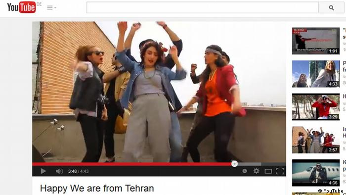 Screenshot Youtube We are from Tehran Titel: Pharell Williams: Happy. Quelle: Youtube http://www.youtube.com/watch?v=RYnLRf-SNxY