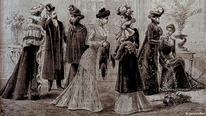 Ausstellungsgruppe Das Brautgeschenk - La Corbeille de Mariage des Hauses Révillon Frères in Paris. (Quelle: Wikipedia Deutsch / http://commons.wikimedia.org/wiki/File:Fashion_1900.jpg?uselang=de)
