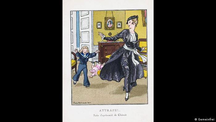 Französische Mode aus dem Jahr 1914 von Madeleine Chéruit gezeichnet von Pierre Brissaud (Quelle: Wikipedia / http://commons.wikimedia.org/wiki/File:Ch%C3%A9ruit_robe_d%27apr%C3%A8s-midi_1914.jpg?uselang=de)