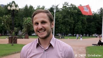 Kristijonas Vizbaras steht in einem Park (Foto: DW/M.Griebeler)